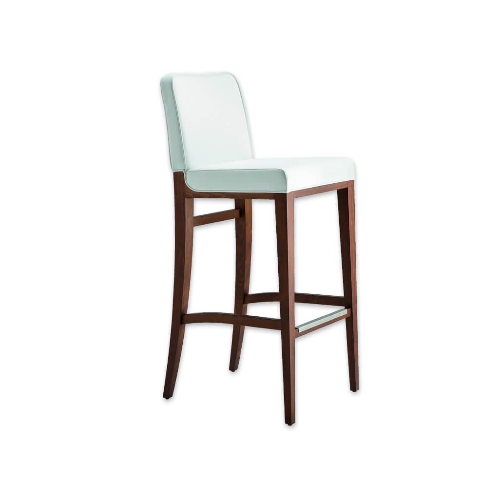 Opera white bar stool with padded backrest and cushion. Timber frame with metal trim to kick plate 6040 BR1 - Designers Image