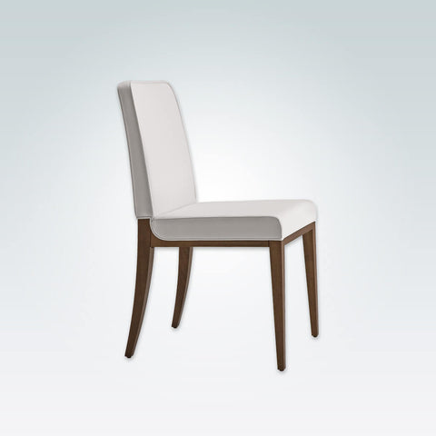 Opera Full Upholstered White Dining Chair with Show Wood Legs 3065 RC1