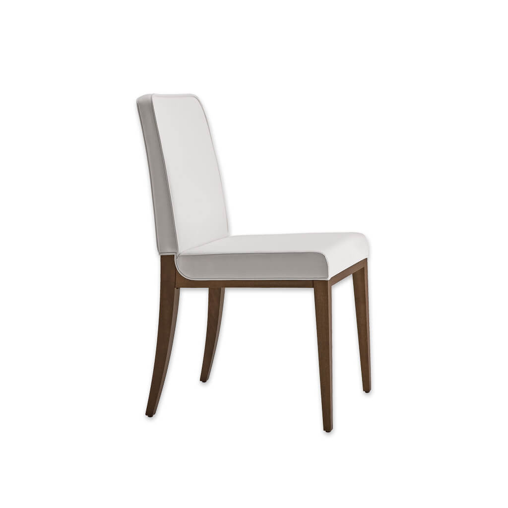 Opera Full Upholstered White Dining Chair with Show Wood Legs 3065 RC1 - Designers Image