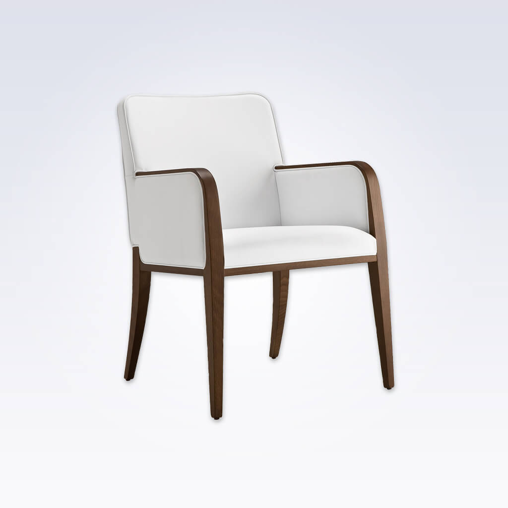 Opera White Leather Tub Chair With Curved Show Wood Armrests And Legs 2048 TC1