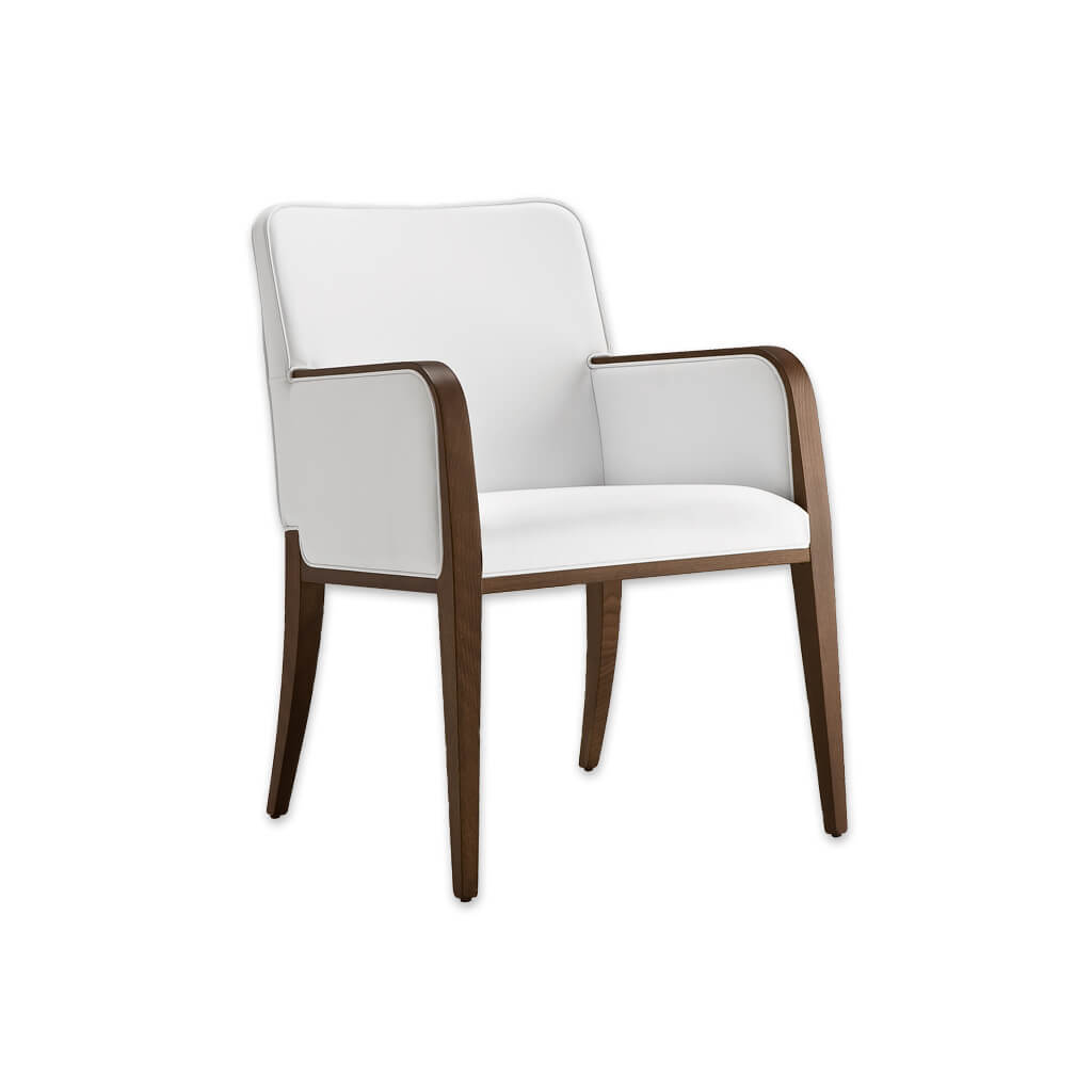 Opera White Leather Tub Chair With Curved Show Wood Armrests And Legs 2048 TC1 - Designers Iamge