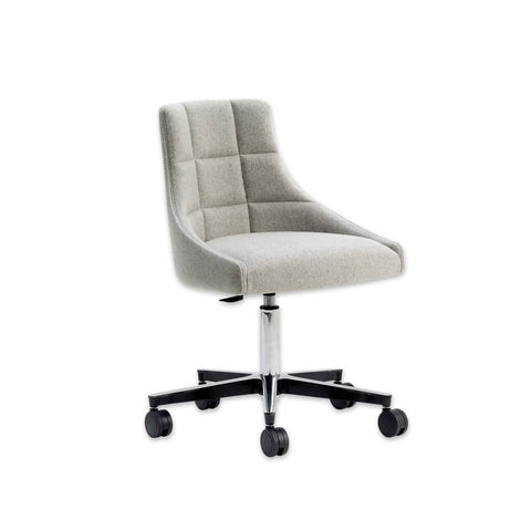 Paris Armless Light Grey Desk Chair with Padded Seat and Curved Backrest Upholstery Detail 5001 DC1