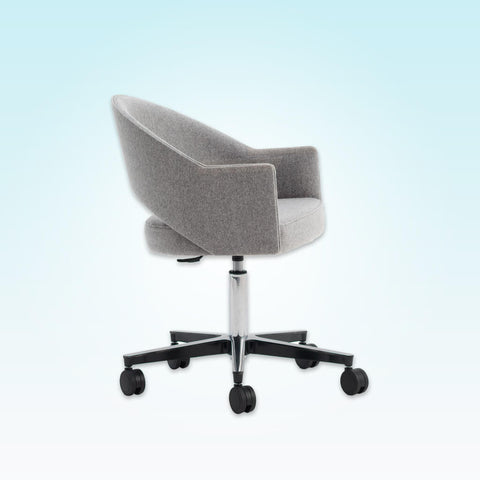 Paris Upholstered Light Grey Desk Chair with Curved Backrest with Cut Out and Angular Armrests 5001 DC2
