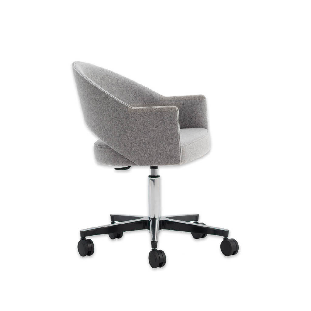Paris Upholstered Light Grey Desk Chair with Curved Backrest with Cut Out and Angular Armrests 5001 DC2 - Designers Image
