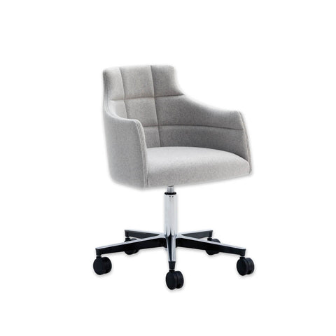 Paris Modern Grey Fabric Desk Chair with Padded Backrest Detail and Swivel Base 5001 DC3