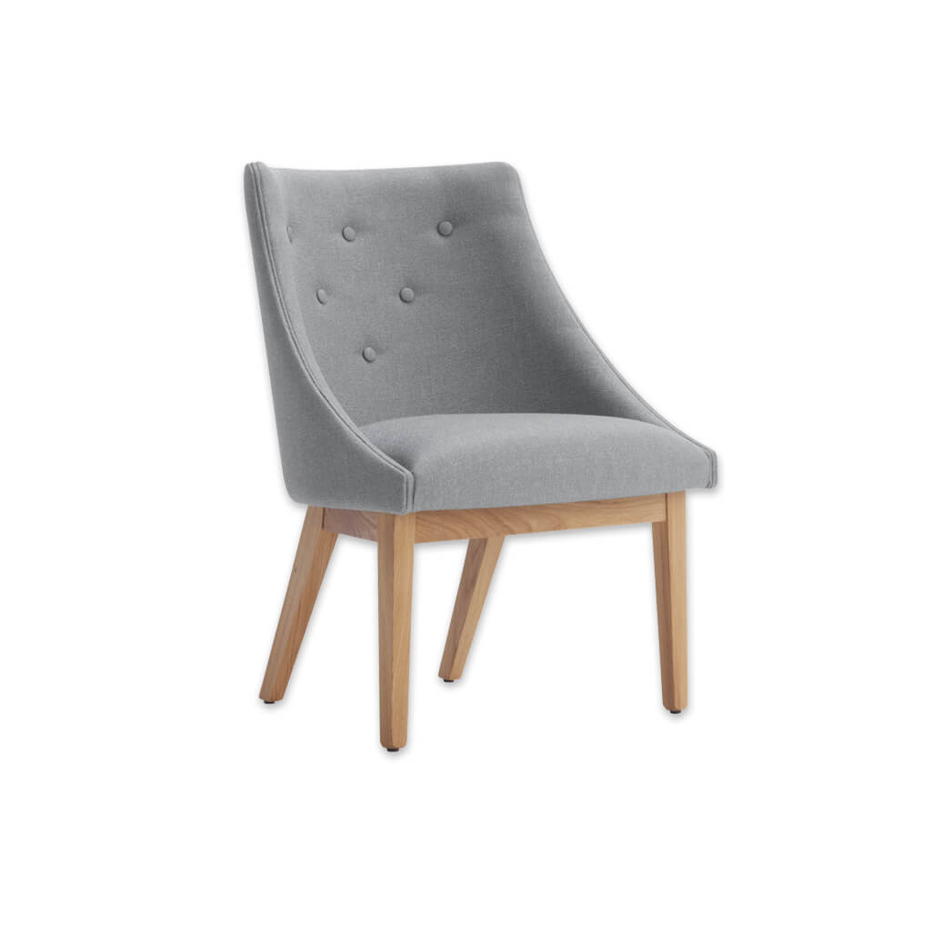 Paris Dark Grey Tub Chair With Sweeping Arms and Timber Framed Base 2003 TC1 - Designers Image