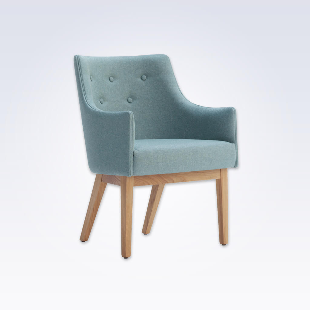 Paris Upholstered Light Blue Tub Chair With Buttoned Back and Timber Framed Legs 2003 TC2