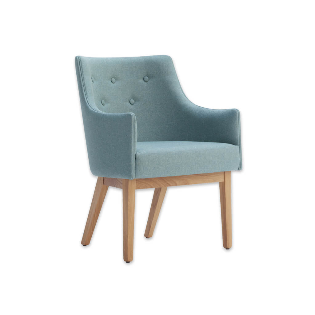 Paris Upholstered Light Blue Tub Chair With Buttoned Back and Timber Framed Legs 2003 TC2 - Designers Image