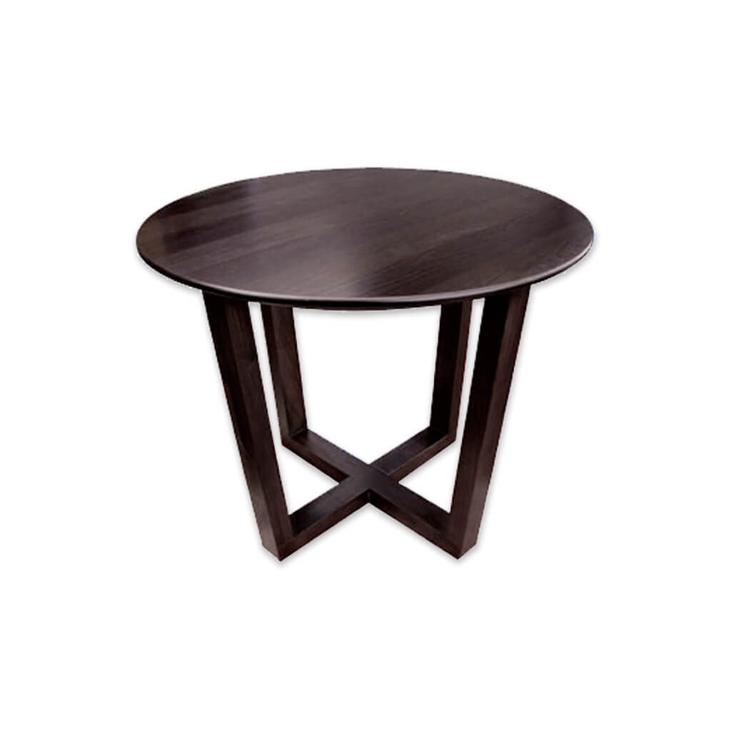Patriki dark brown wood dining table with cross base and round top. 1136 - Designers Image
