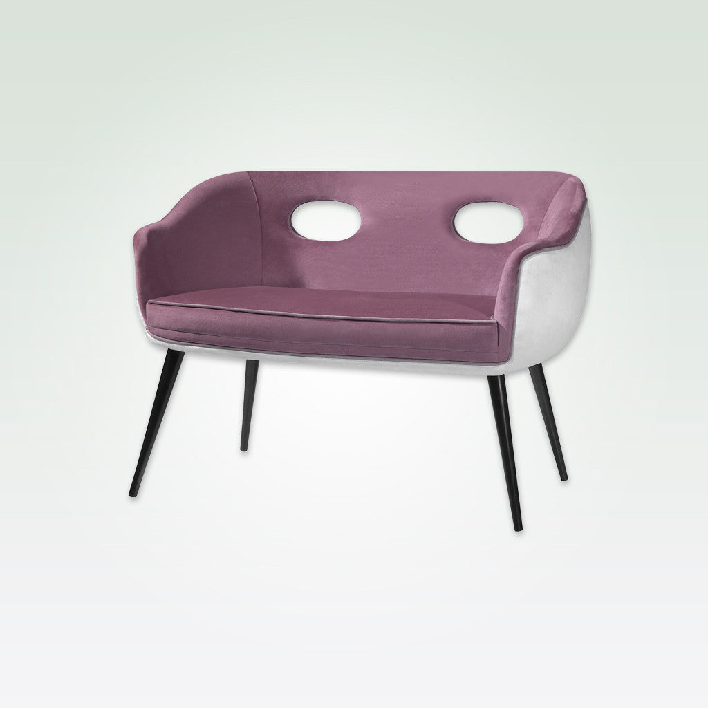 Pebble modern purple and white sofa with tub seat, cut-out detail and conical legs 8007 SF1