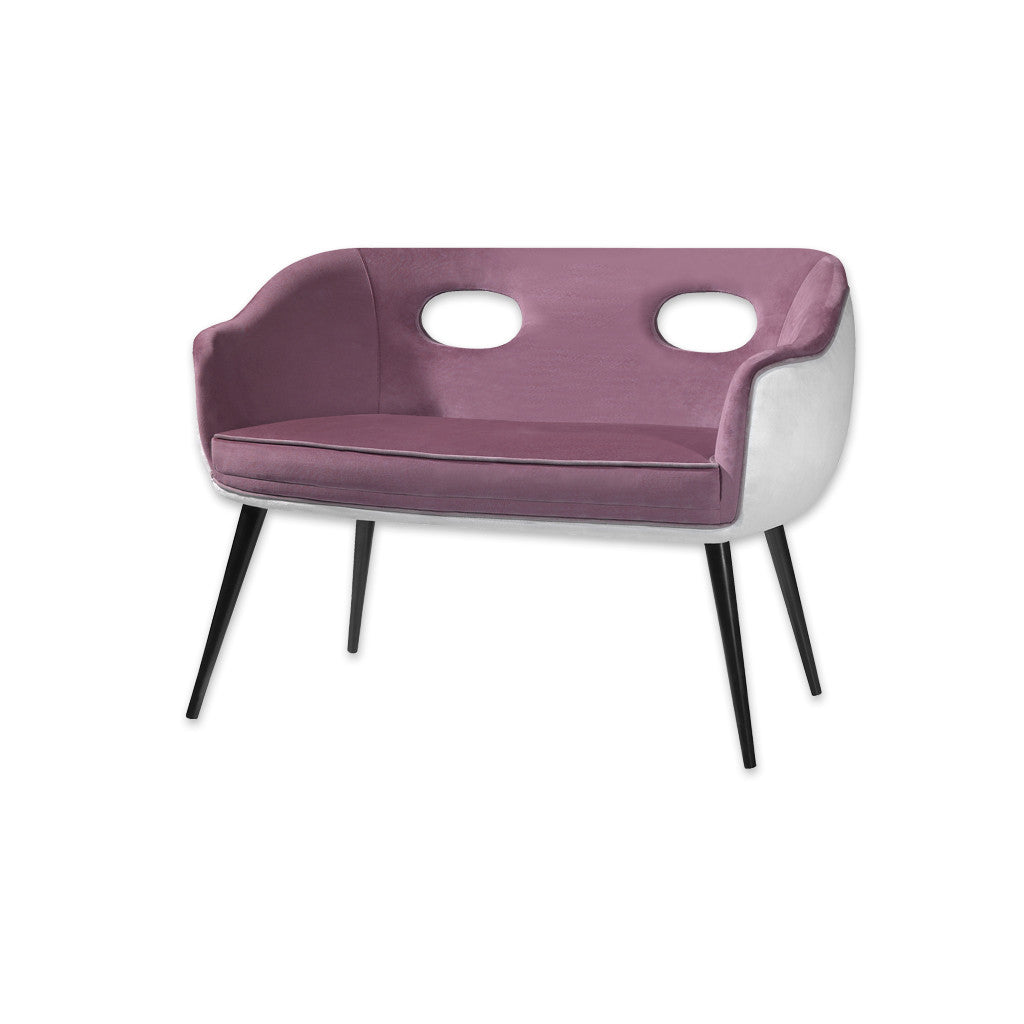 Pebble modern purple and white sofa with tub seat, cut-out detail and conical legs 8007 SF1 - Designers Image
