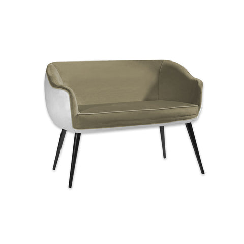 Pebble  green and white sofa with tub seat and conical legs 8007 SF2
