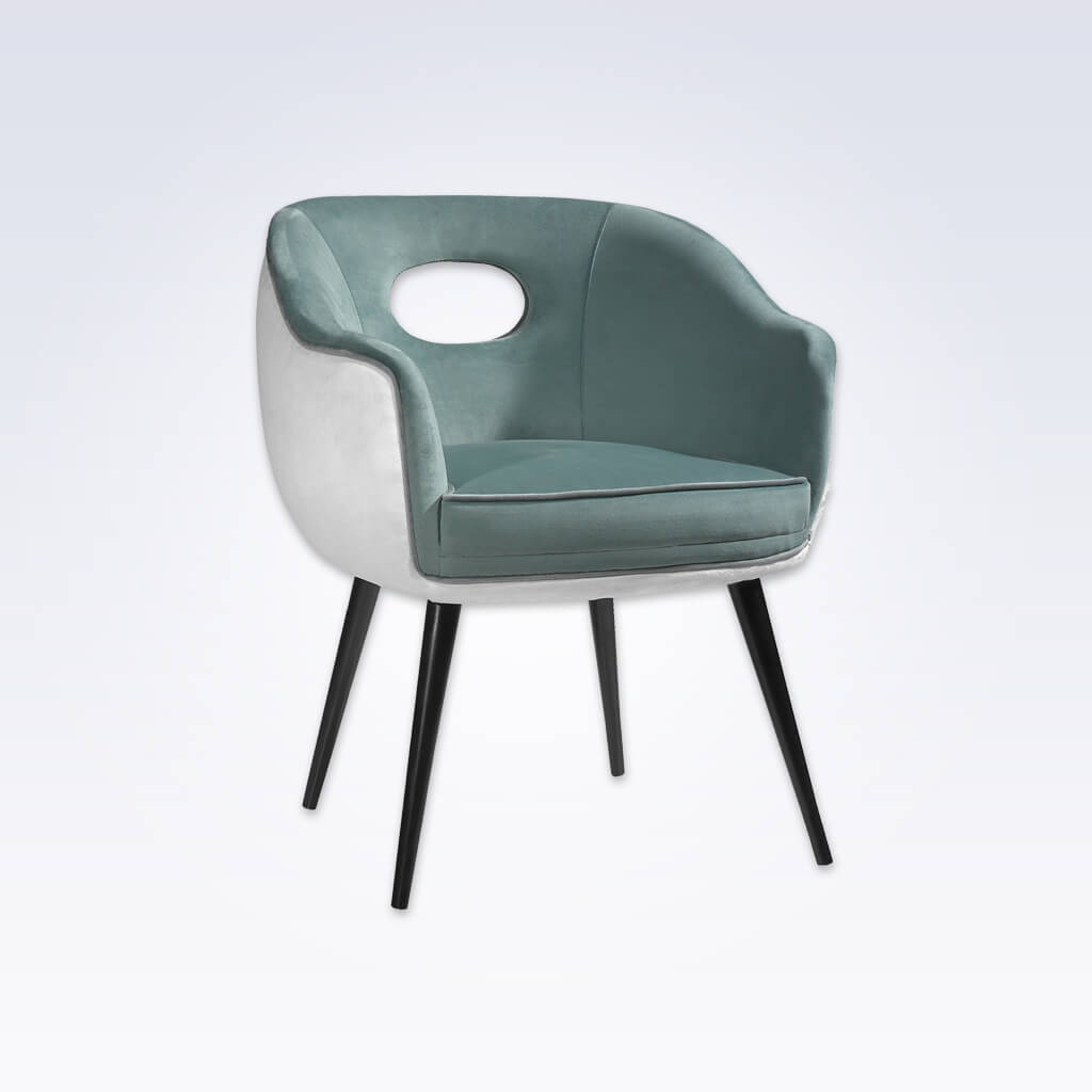 Pebble Light Grey Tub Chair Cutout Back Detail and Tapered Conical Legs 2008 TC2