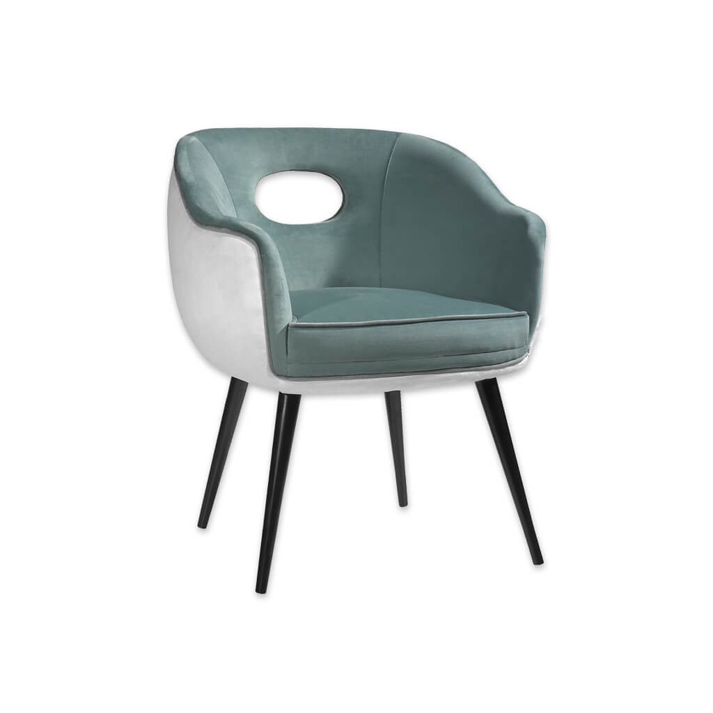 Pebble Light Grey Tub Chair Cutout Back Detail and Tapered Conical Legs 2008 TC2 - Designers Image