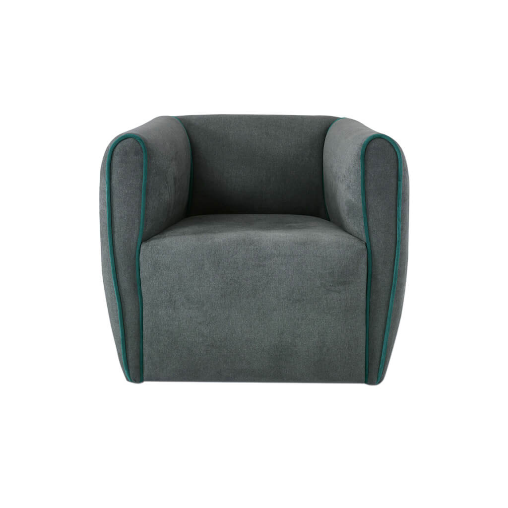 Penza grey upholstered lounge chair with piping detail to arms 1071 LC1 - front - Designers Image