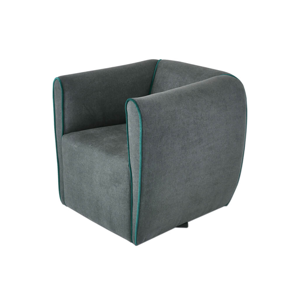 Penza grey upholstered lounge chair with piping detail to arms 1071 LC1 - side - Designers Image