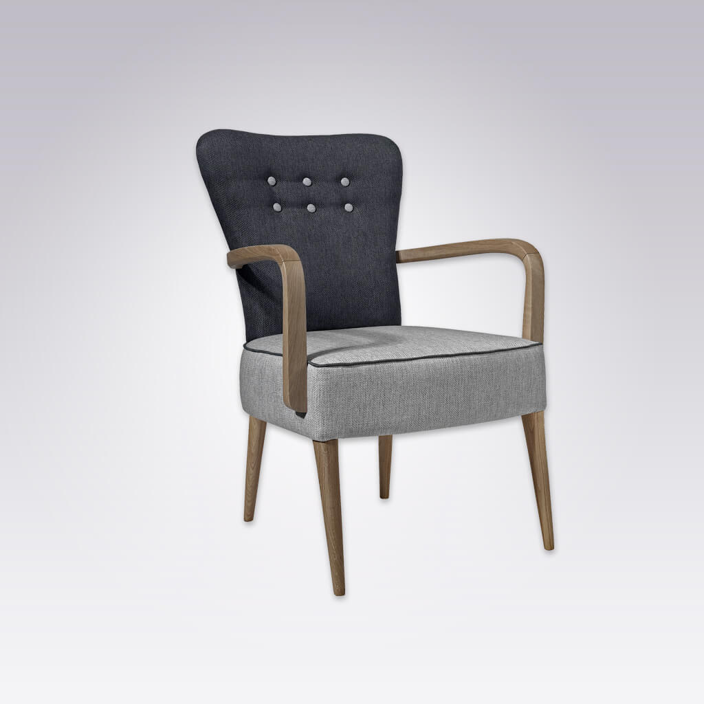 Piani Grey and Black Armchair with Grey Button Detail and Curved Arms 4019 AC1
