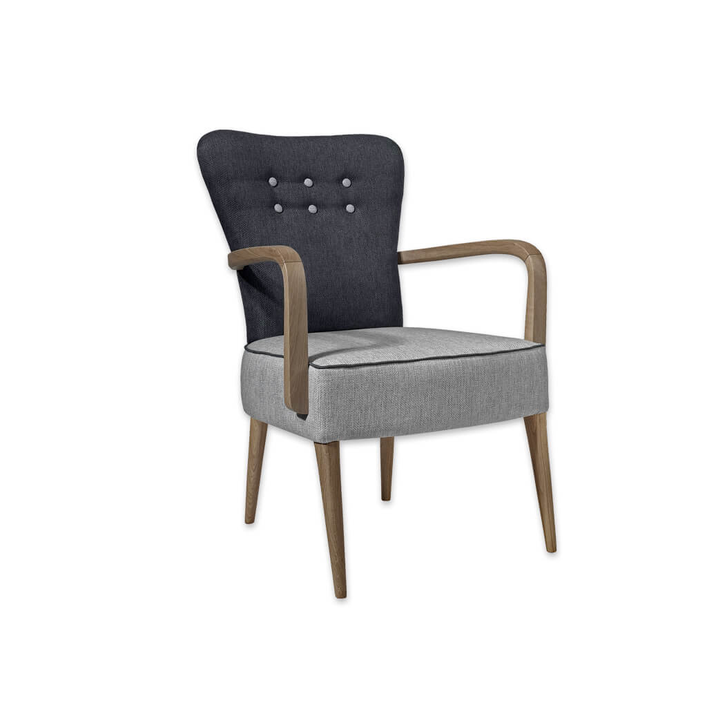 Piani Grey and Black Armchair with Grey Button Detail and Curved Arms 4019 AC1 - Designers Image