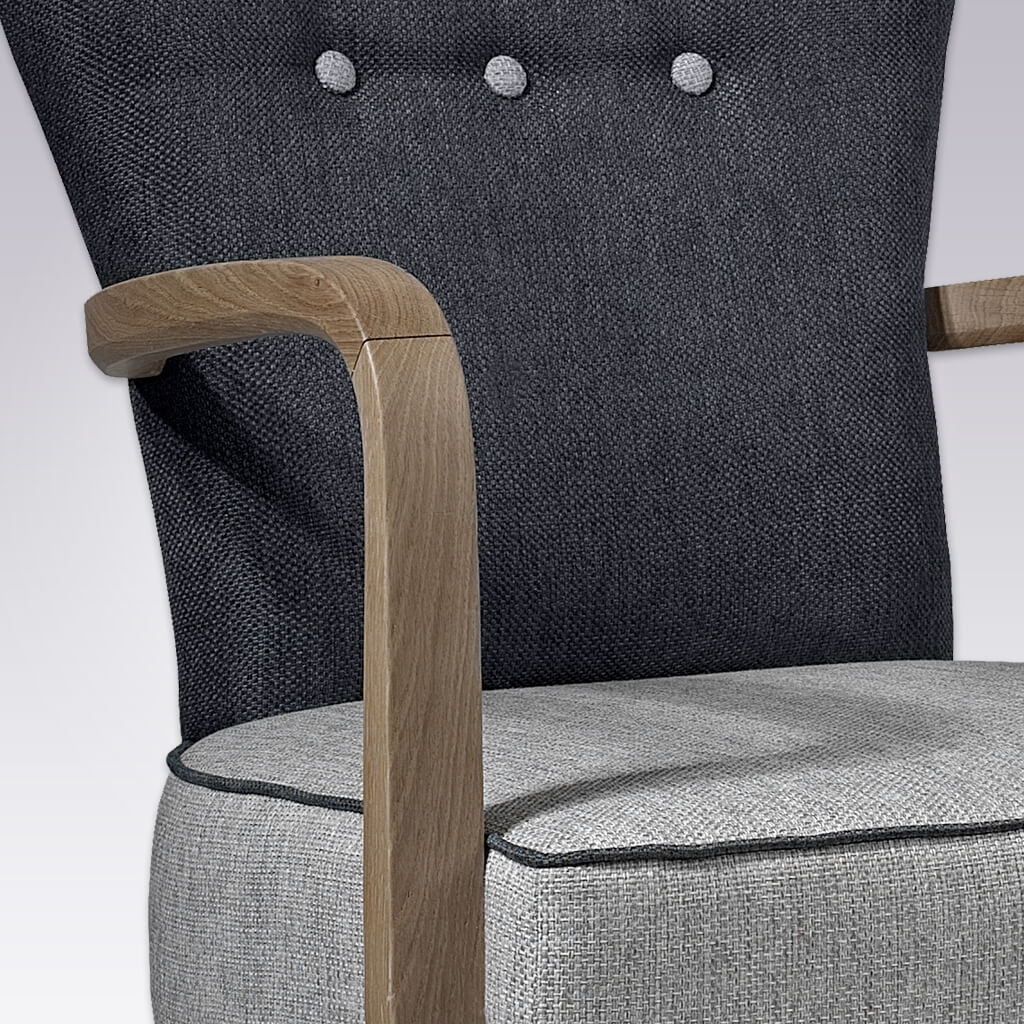 Piani Grey and Black Armchair with Grey Button Detail and Curved Arms 4019 AC1- Close Up