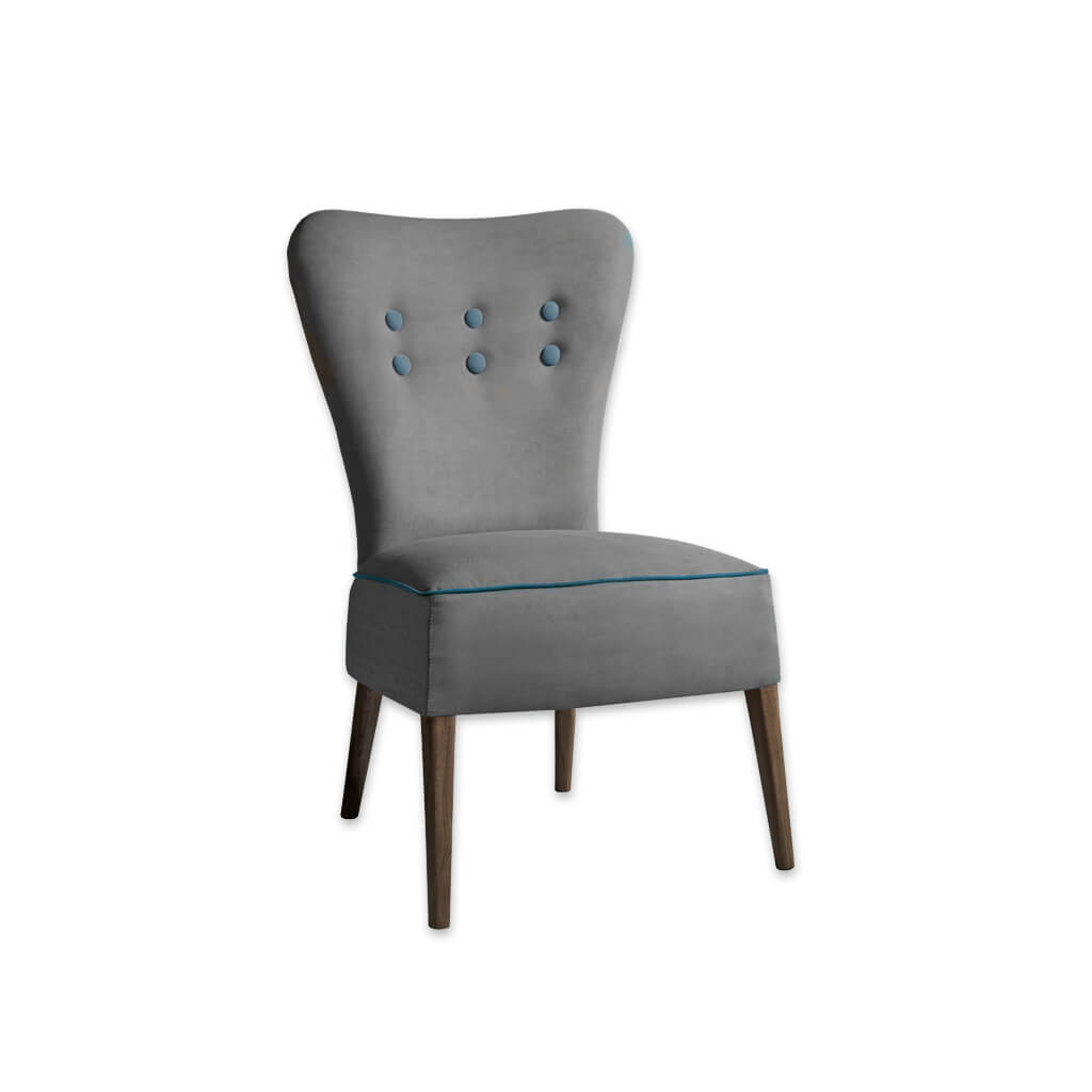 Piani Grey Upholstered Chair with Deep Upholstered Seat and Button Detail 3037 RC1 - Designers Image
