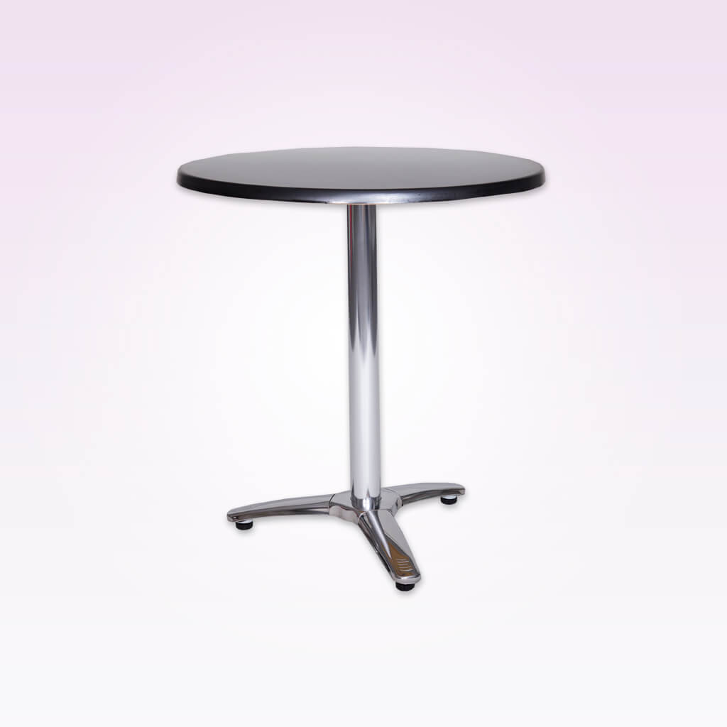Picasso round silver dining table with pedestal and three cross base. 1137