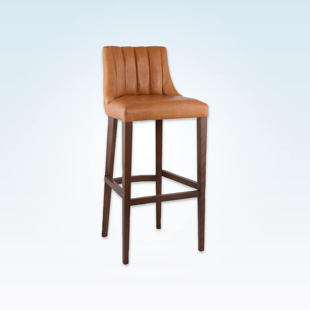 Polly light brown bar stool with leather upholstered seat  featuring deep stitching to the backrest 6030 BR1