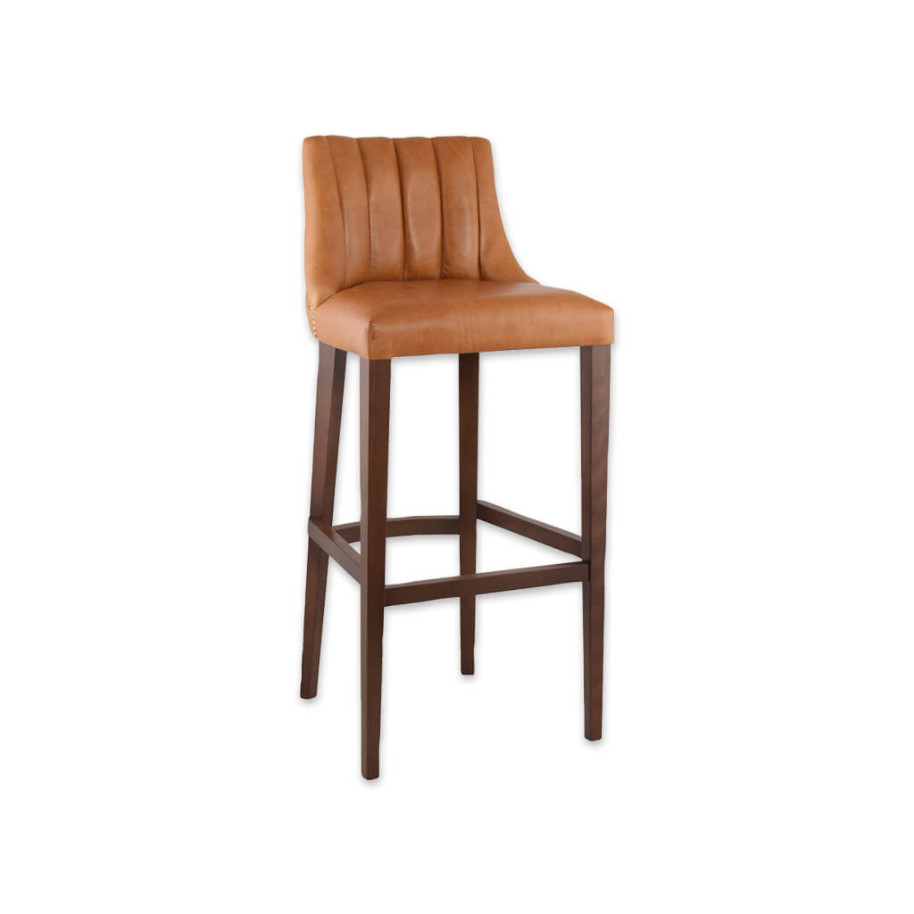 Polly light brown bar stool with leather upholstered seat  featuring deep stitching to the backrest 6030 BR1 - Designers Image