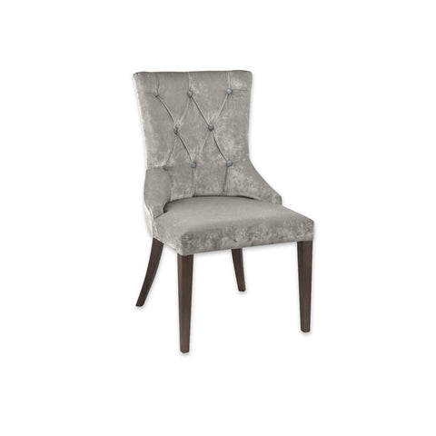 Polly Upholstered Silver Velvet Chair with Deep Button Upholstery and Tapered Timber Legs 3054 RC1