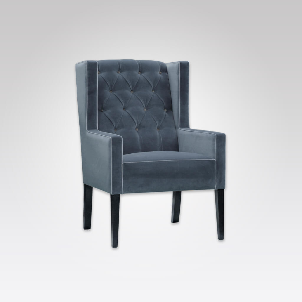 Quito Fully Upholstered Winged Blue Lounge Chair with Deep Buttoned Back Detail 1053 LC1