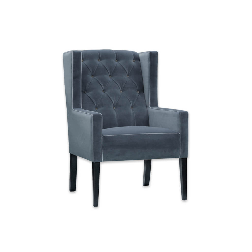 Quito Fully Upholstered Winged Blue Lounge Chair with Deep Buttoned Back Detail 1053 LC1 - Designers Image