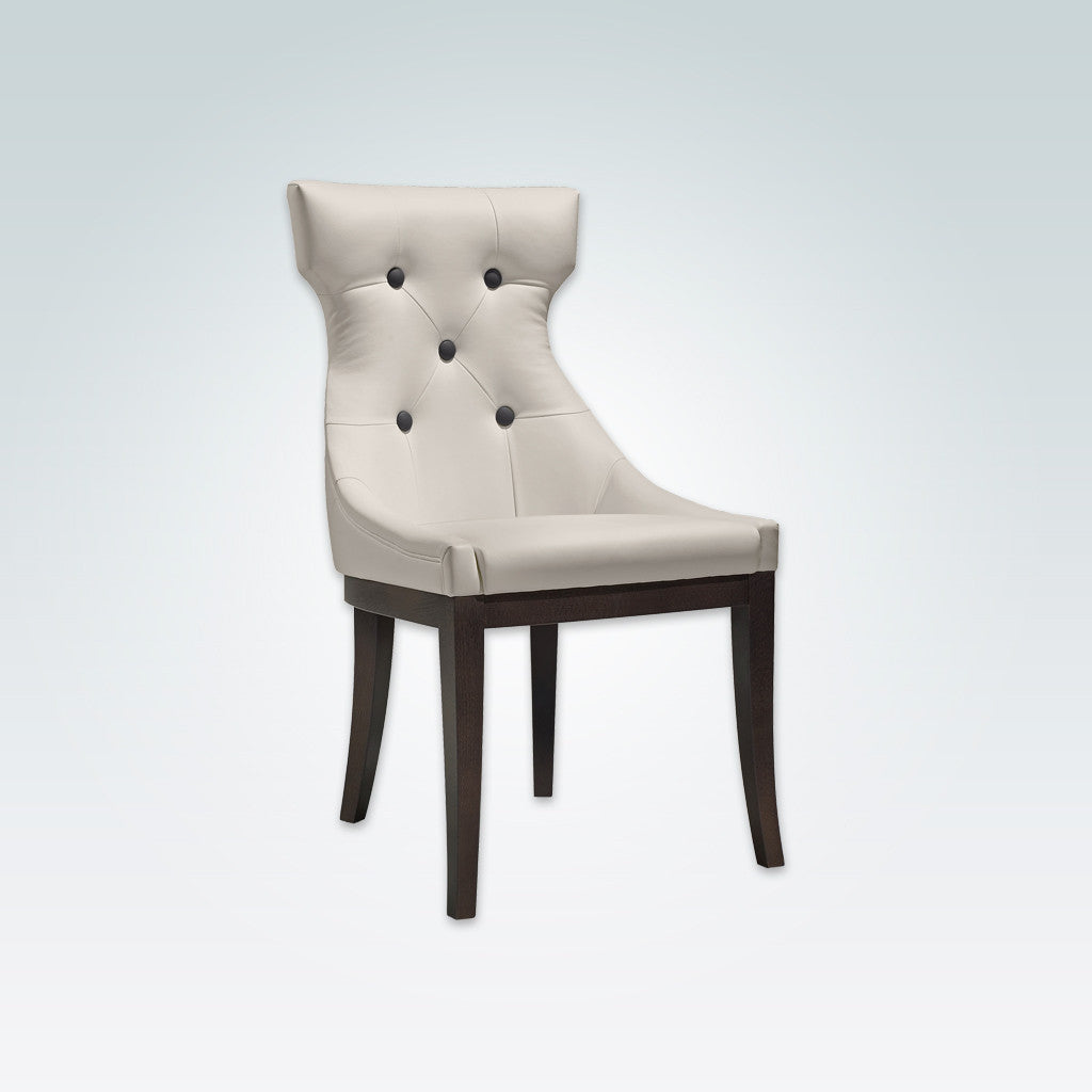 Raverno Cream Coloured Dining Chair Hammer Head Back with Large Contrasting Back Buttons Dark Wood Plinth and Tapered Legs 3050 RC1