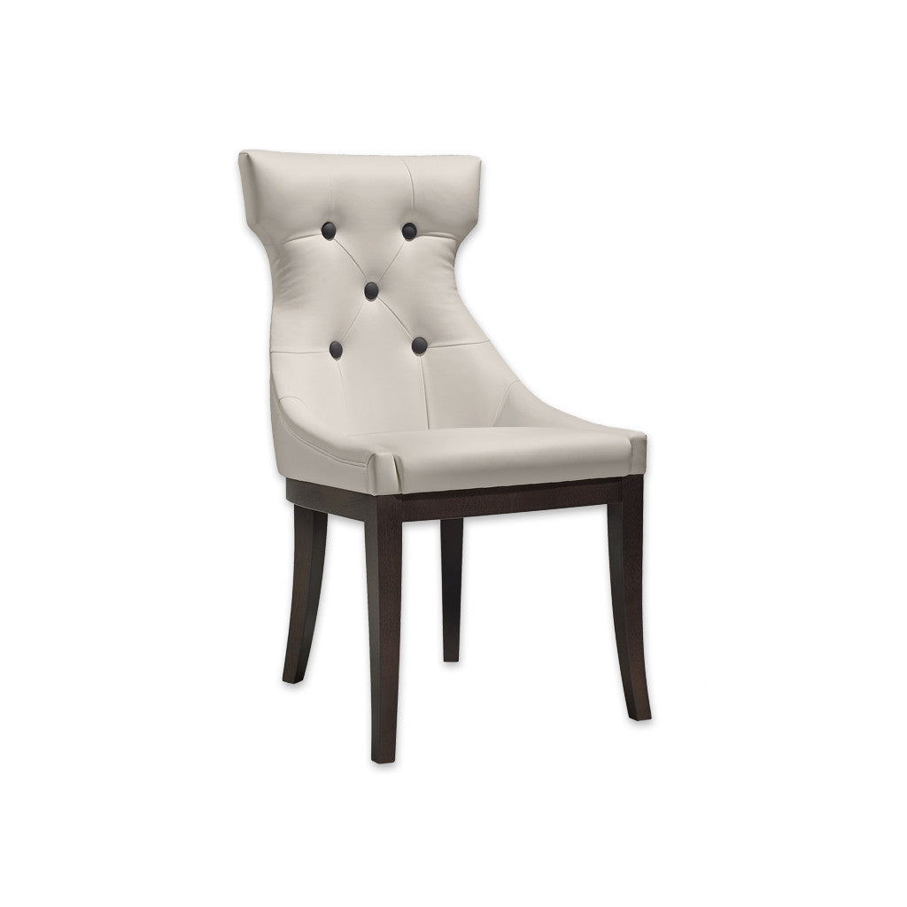 Raverno Cream Coloured Dining Chair Hammer Head Back with Large Contrasting Back Buttons Dark Wood Plinth and Tapered Legs 3050 RC1 - Designers Image
