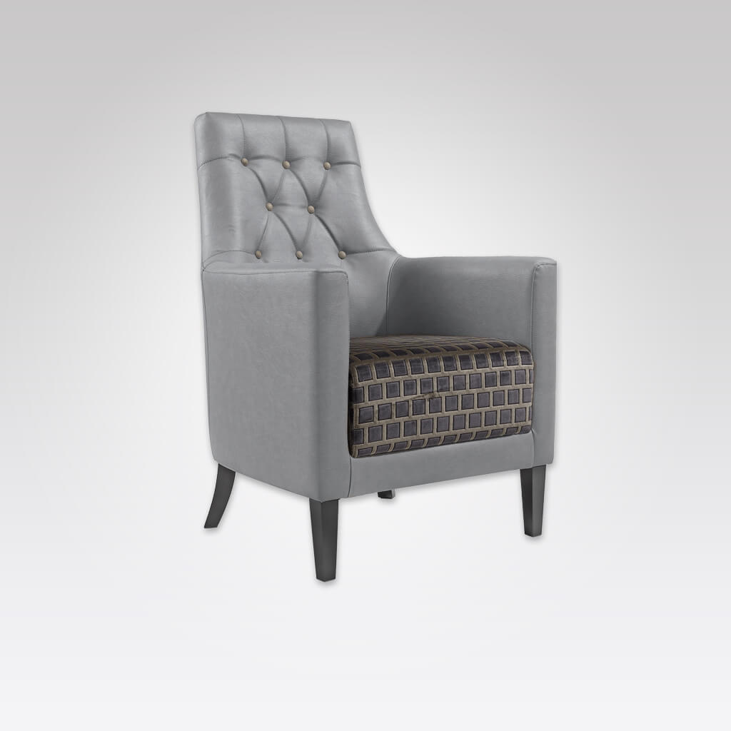 Reagan Grey Lounge Chair Fully Upholstered Arms and Back with Deep Button Backrest 1027 LC1