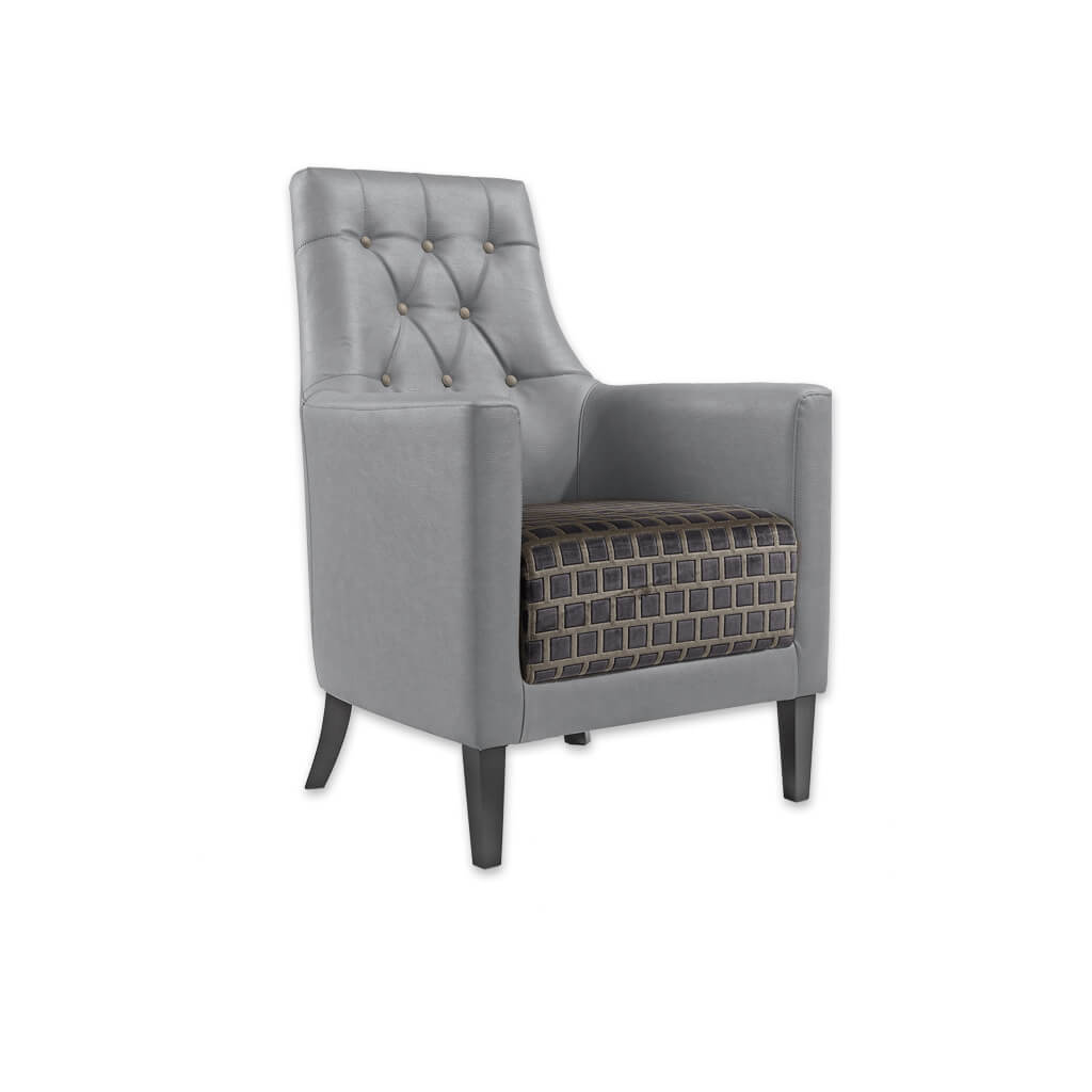Reagan Grey Lounge Chair Fully Upholstered Arms and Back with Deep Button Backrest 1027 LC1 - Designers Image