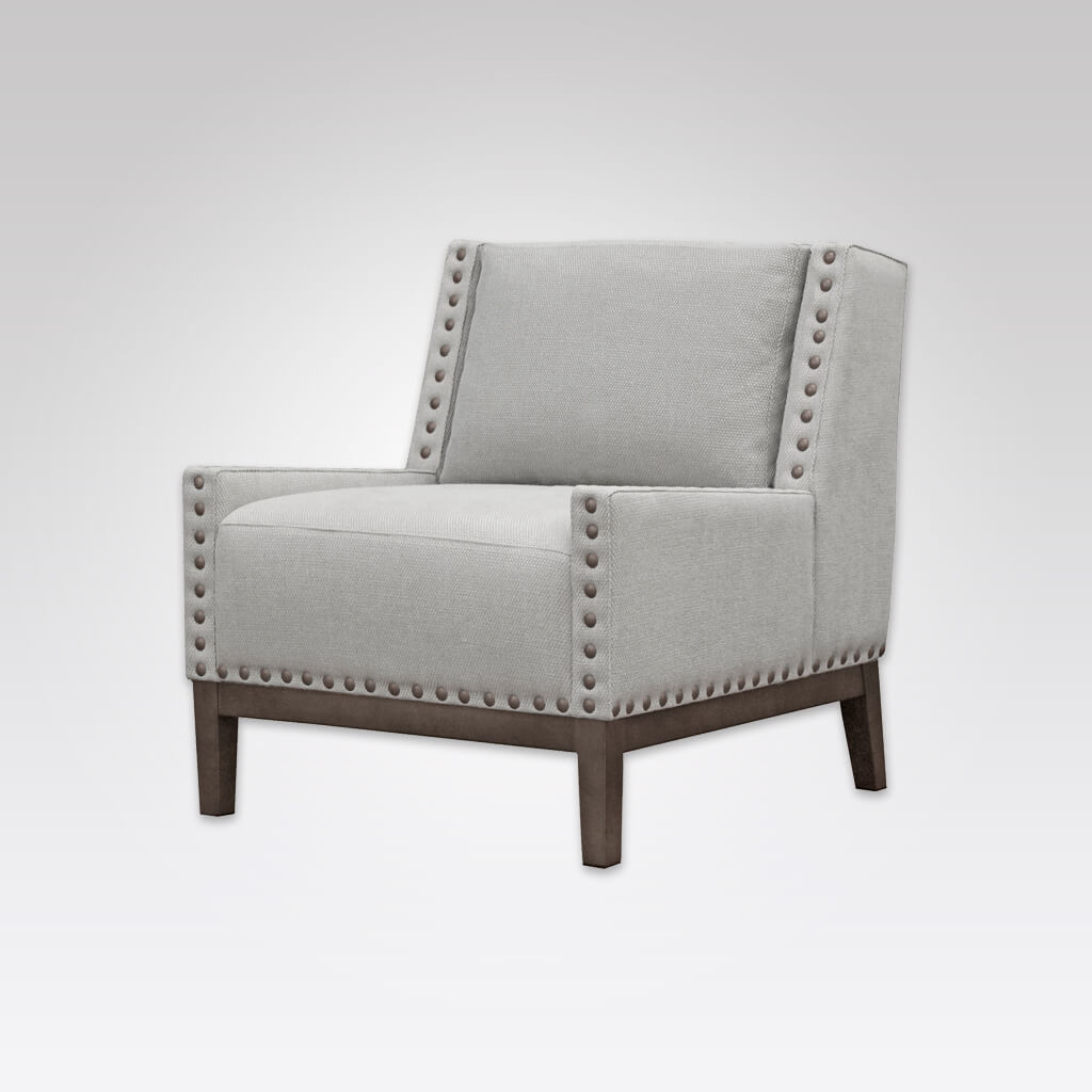 Rick Armless Light Grey Lounge Chair with Timber Show Wood Underframe and Large Studs 1057 LC1