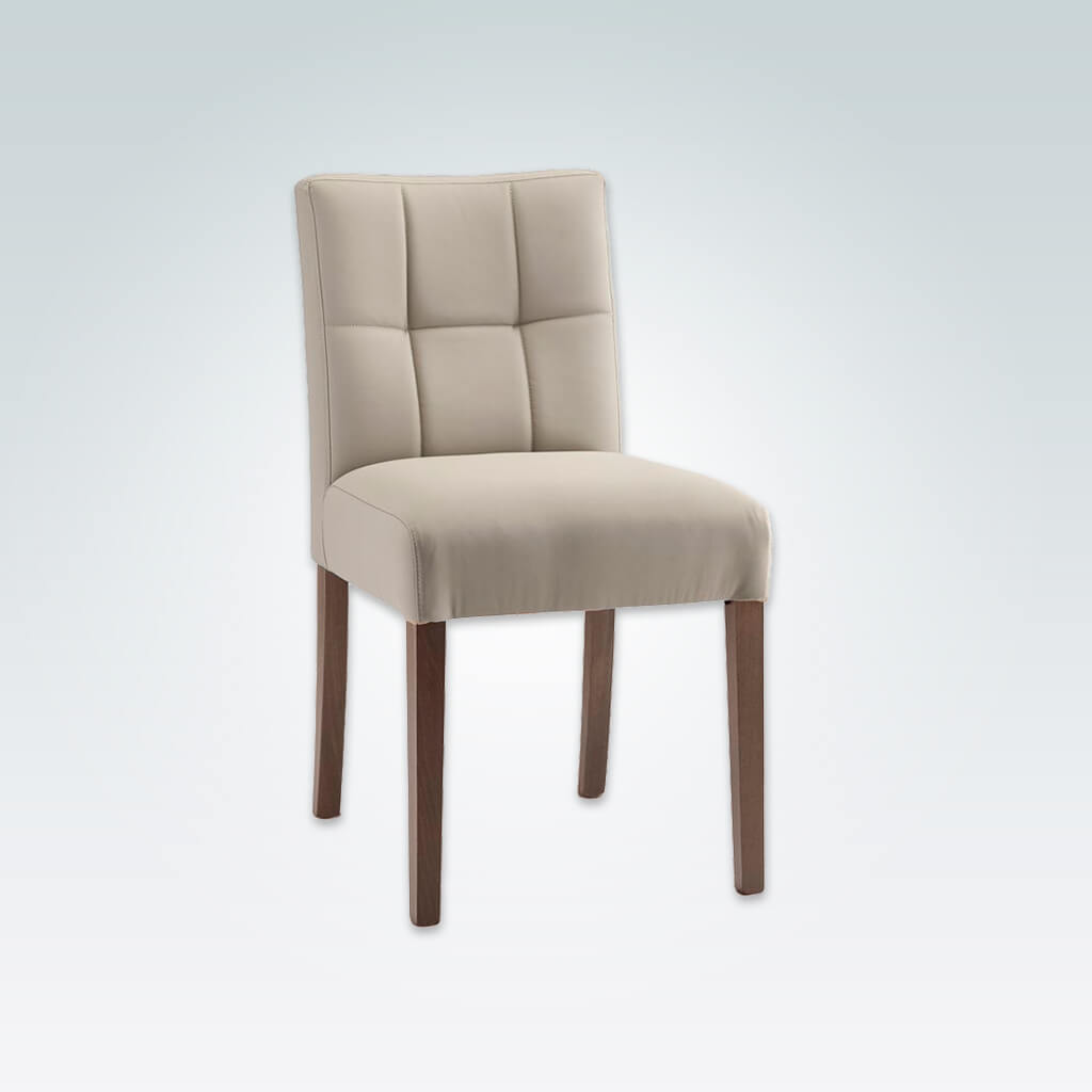 Rita Cream Dining Chair Fully Upholstered with Deep Tiled Backrest detail and Straight Legs 3070 RC1