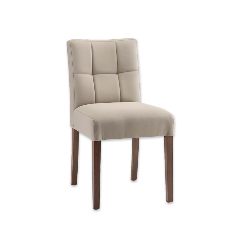 Rita Cream Dining Chair Fully Upholstered with Deep Tiled Backrest detail and Straight Legs 3070 RC1 - Designers Image