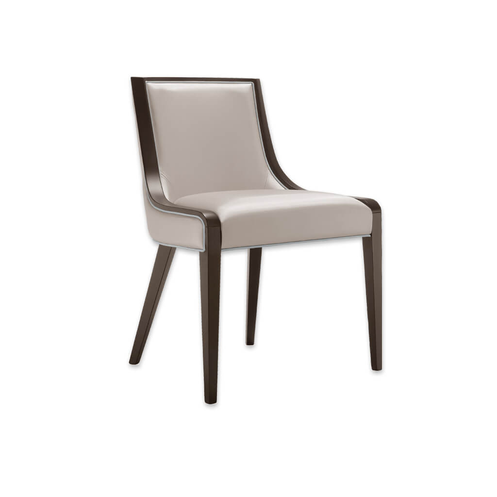 River Cream Wooden Dining Chair Flowing Dark Show Wood Edging and Splayed Back Legs 3055 RC1 - Designers Image