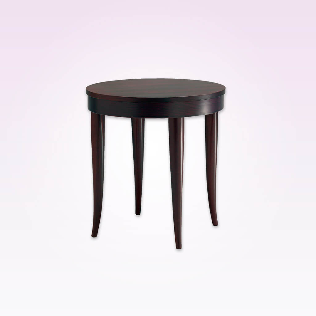 Rizolli round bar table with down stand and curved tapered legs.  1140