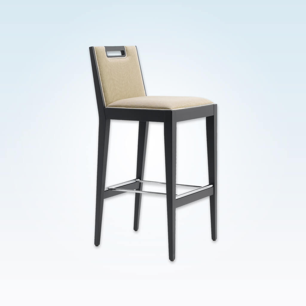 Roka cream fabric bar stool with back detail, show wood trim and wooden legs with a metal kick plate 6015 BR1