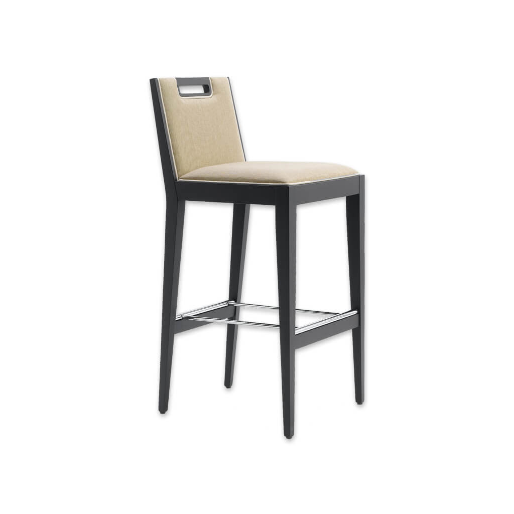 Roka cream fabric bar stool with back detail, show wood trim and wooden legs with a metal kick plate 6015 BR1 - Designers Image