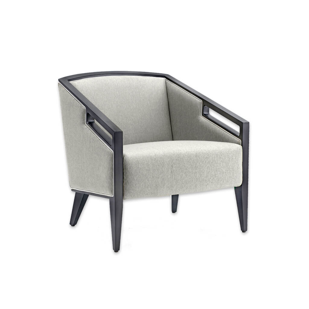 Roka Upholstered Grey Modern Lounge Chair with Show Wood Framed Armrests 1023 LC1 - Designers Image