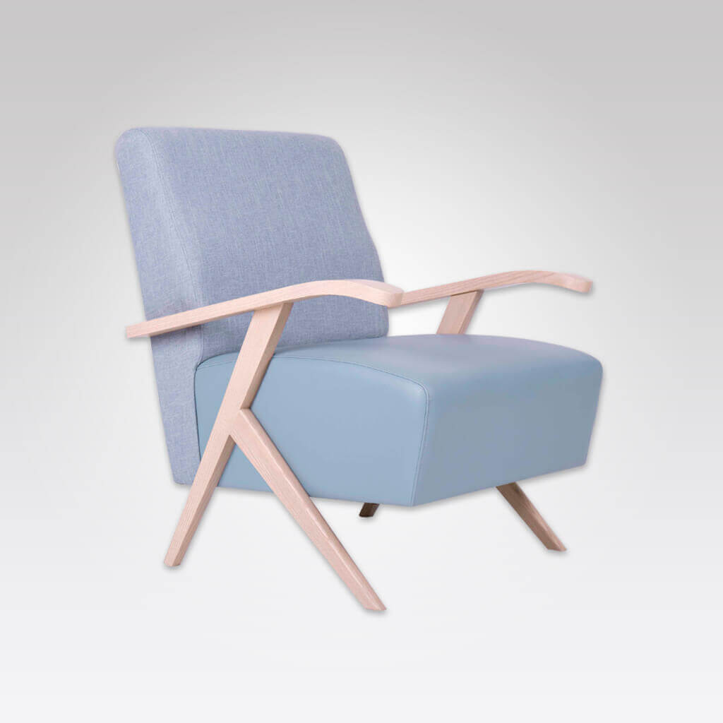 Romano light blue lounge chair with exposed wood arm detail 1070 LC1