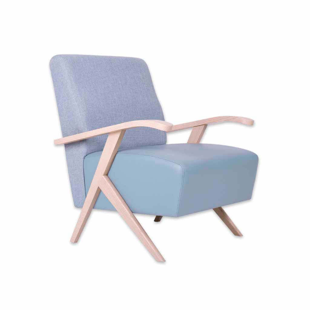Romano light blue lounge chair with exposed wood arm detail 1070 LC1 - Designers Image