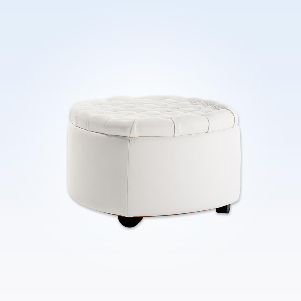 Rowan White circle ottoman with deep buttoning to the top and rounded feet 10004 OT1