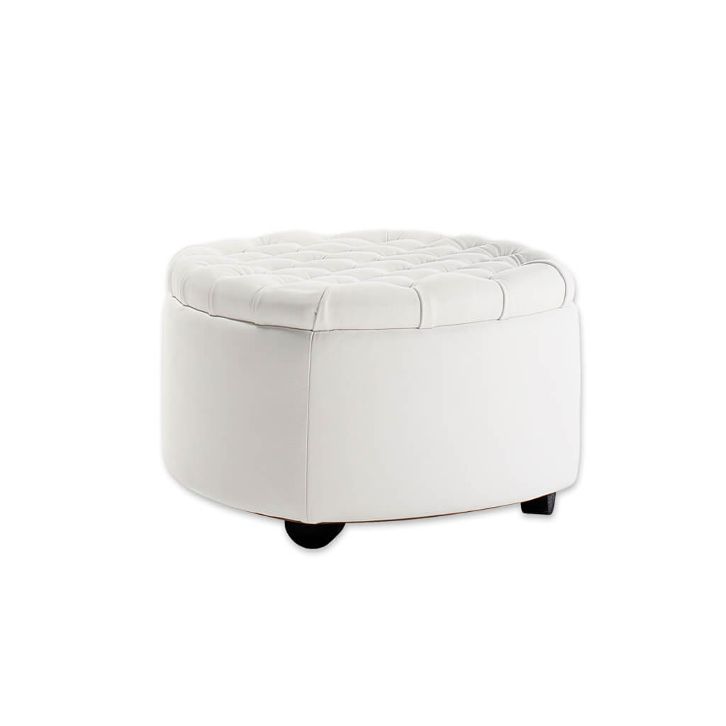 Rowan White circle ottoman with deep buttoning to the top and rounded feet 10004 OT1 - Designers