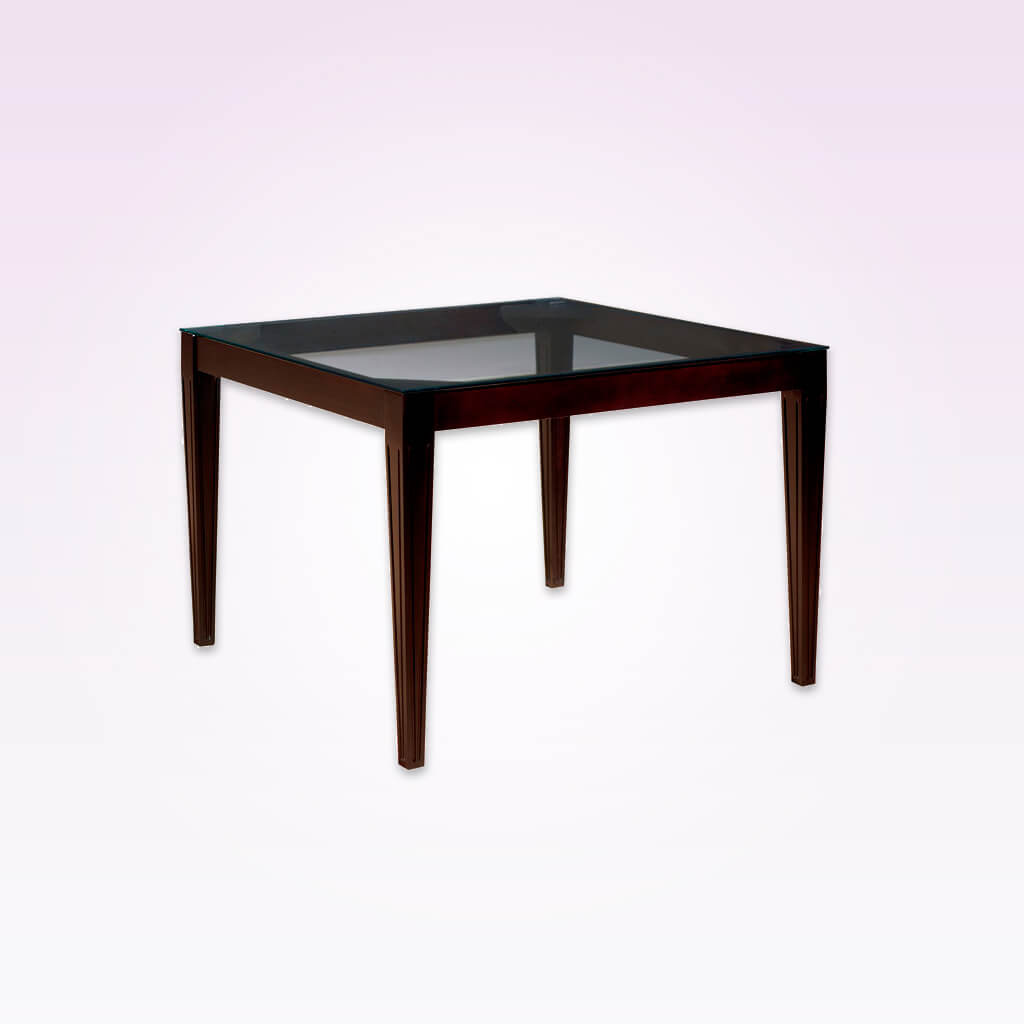 Rule glass bar table with dark wood frame. 1141