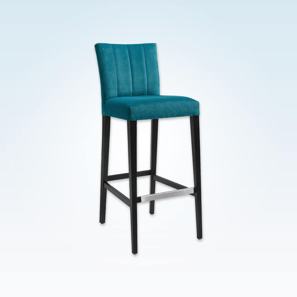 Sage blue bar stool with upholstered cushion featuring decorative stitching to the backrest and a wooden frame with metal trimmed kick plate 6039 BR1