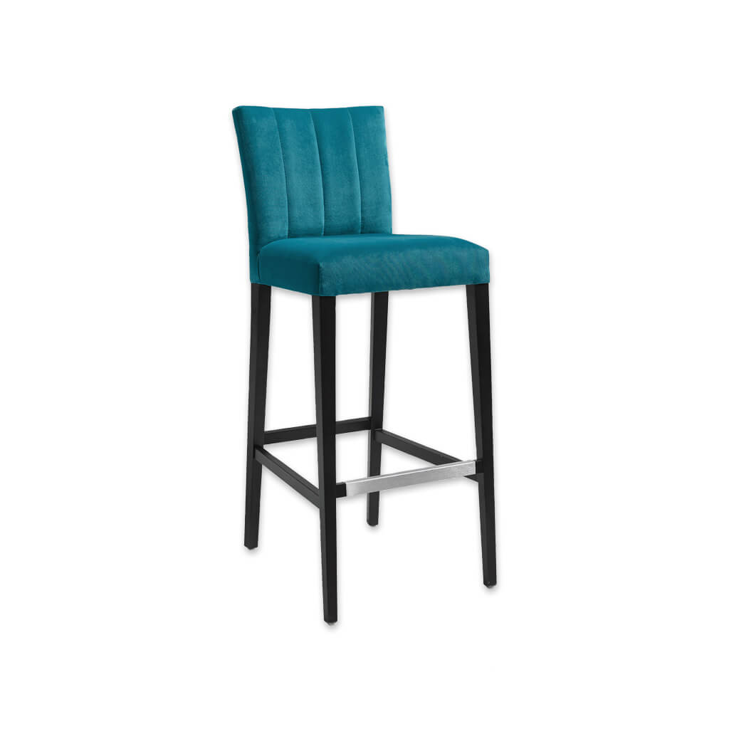 Sage blue bar stool with upholstered cushion featuring decorative stitching to the backrest and a wooden frame with metal trimmed kick plate 6039 BR1 - Designers Image