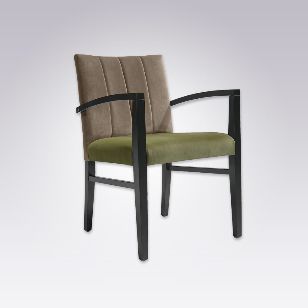 Sage Green and Brown Chair with Angular Arms 4034 AC1